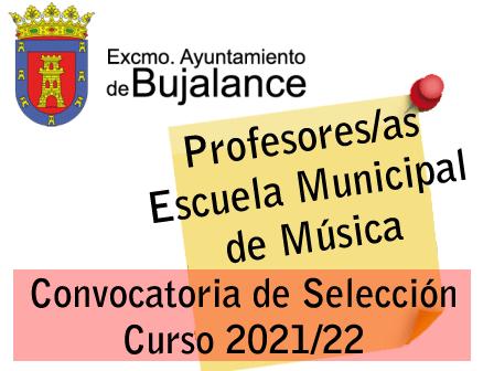 Convocatoria de Selección de cuatro Profesores/as para la Escuela Municipal de Música, curso 2021-22
