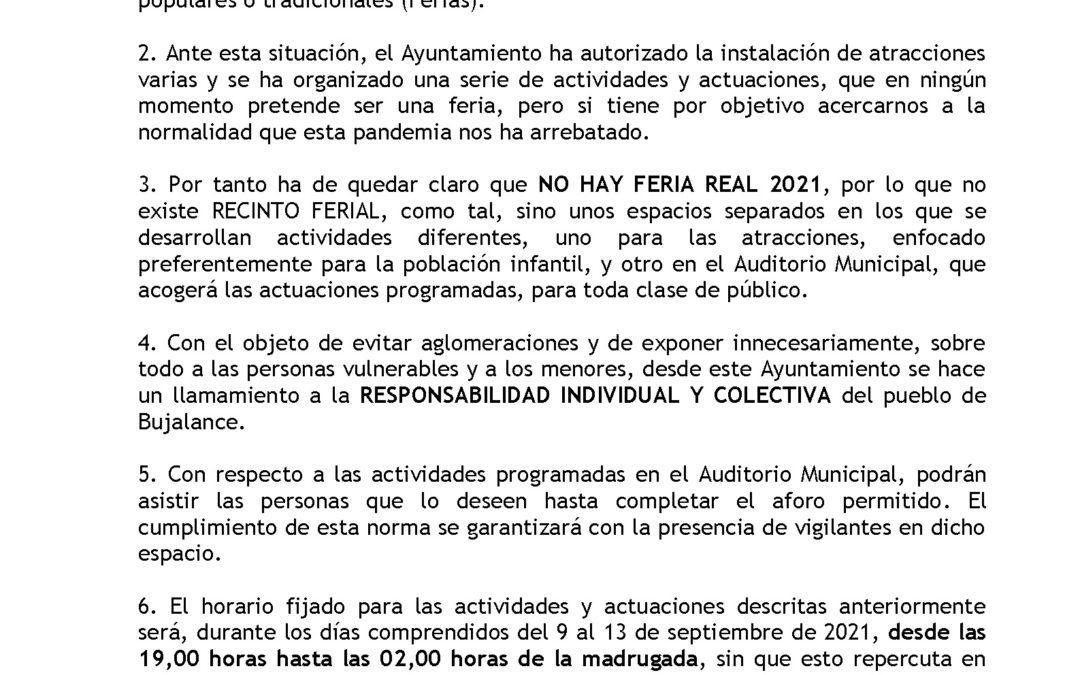 BANDO de la Alcaldía sobre la NO celebración de la Feria Real 2021